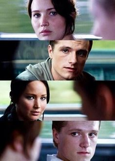 Top and bottom-first movie Middle-second movie. Not only can you see the differences in the actors (which is amazingly done) but notice the difference in lighting and setting. Francis Lawrence did an amazing job with Catching Fire!