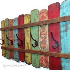 Wood Coat Rack OOAK Cast Iron Coat Hook / Shabby Cottage Beach Chic Coat Rack… More