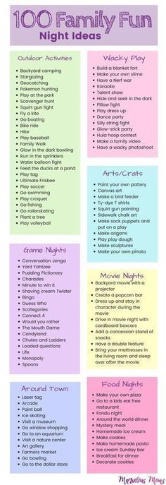 100 Family Fun Night Ideas   Kids activities   Playing with Kids   Activities for toddlers to teenagers   Free Family Nights   Outdoor activities   Movie Nights   Game Nights