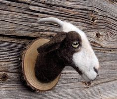 Needle felted animal head, style faux animal trophy