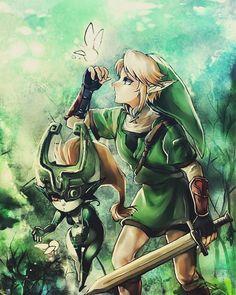 Midna & Link - Twilight Princess - The Legend of Zelda The Legend Of Zelda, Legend Of Zelda Breath, Link Zelda, Link And Midna, Film Manga, Manga Anime, Zelda Majoras Mask, Link Twilight Princess, Princess Art