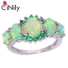 [Visit to Buy] CiNily Created Green Fire Opal Crystal Silver Plated Ring Wholesale Retail Hot Sell for Women Jewelry Ring Size 5-12 OJ7552 #Advertisement