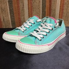 PF FLYERS retro vintage green/pink sneakers . 8.5 Pretty Clean . Minimal wear . No issues PF FLYERS Shoes