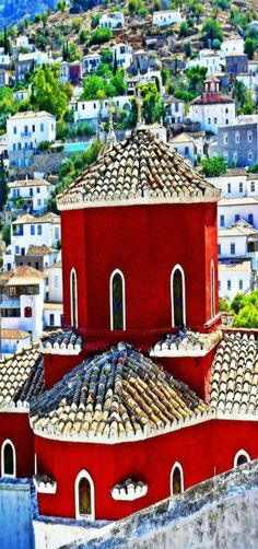 Red Church, Hydra, Greece by Daniel Schwabe