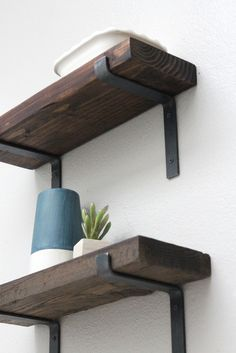 Black Shelf Brackets, Modern Shelving Hardware Metal, Screws Included - Interieur - Shelves in Bedroom Shelf Brackets Modern, Steel Shelf Brackets, Steel Shelving, Modern Shelving, Rustic Shelves, Metal Shelves, Floating Shelves, Shelving Brackets, Storage Shelves