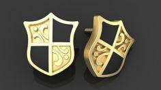 """Купить Золотые серьги """"Французский щит"""" - Серьги, мужские серьги, серьги пусеты из золота"""