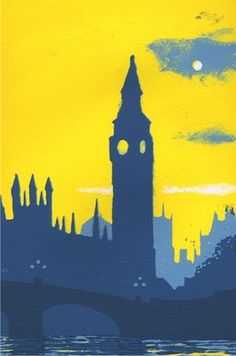 Westminster by Ian Scott Massie, More art: www. Intro To Art, Monuments, Cityscape Art, Art Lessons Elementary, London Art, Landscape Art, Silhouette, Painting & Drawing, Printmaking