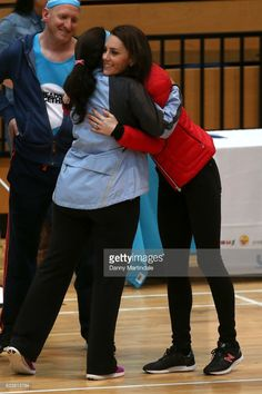 Catherine, Duchess of Cambridge hugs a volunteer during a training day for the Heads Together team for the London Marathon at Olympic Park on February 5, 2017 in London, England.  (Photo by Danny Martindale/WireImage)