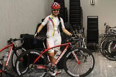 Colombian National Team Cyclist Camila Valbuena and a Stradalli Cycle before warm-ups for Richmond 2015