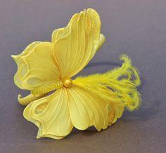 Yellow butterfly headdress, yellow wedding, flowergirl headband, lace butterfly