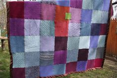 Crocus Throw Blanket with Fig Silk Satin Edging by Crispinaffrench, $325.00