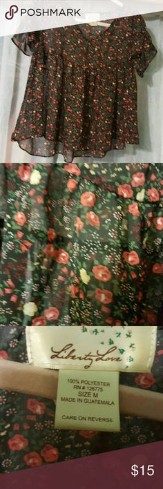 Sheer floral cropped flowy flounce top Black with red flowers motif Liberty Love Tops