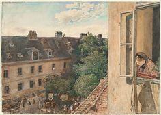 "Rudolf von Alt (Austrian, 1812–1905) - ""View of the Alservorstadt"" 1872, Watercolor."