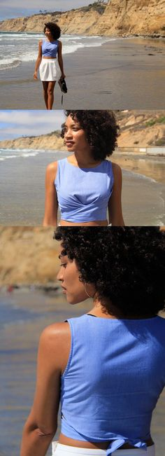 DIY Wrap Crop Top - FREE Sewing Pattern and Tutorial - except I would make it not so cropped & maybe add a skirt so it's a dress. Diy Crop Top, Crop Tops, Sewing Patterns Free, Free Sewing, Sewing Tips, Free Pattern, Sewing Projects, Pattern Sewing, Sewing Hacks
