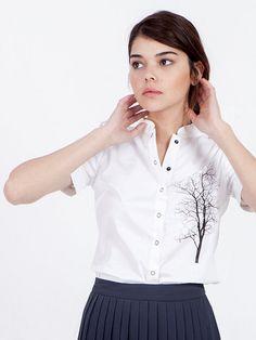 SALE White blouse - short sleeve blouse - white cotton blouse - blouses for women - tree of life shirt - white dress shirt