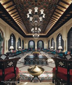 """""""The Majlis"""" has a central role in Arab society, it's where the elder would sit and discuss important community concerns and make decisions. it's also could be a private place where guests are received and entertained.This space is one of other spaces of…"""