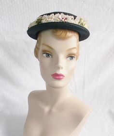 1950's Vintage Navy Blue Hat with Flowers and by MyVintageHatShop