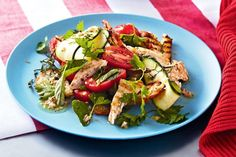 Zucchini ribbons add a touch of elegance to Curtis Stones' grilled chicken salad.