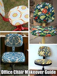 Recover an old office chair by using this easy chair facelift tutorial: http://thecraftingchicks.com/2012/02/office-chair-facelift.html