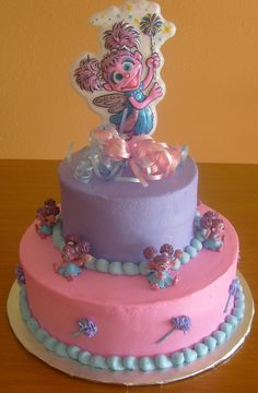 Abby Cadabby cake maybe just use Abby cadabby colors and then buy a couple little Abby toys to decorate it with. And an elmo Toddler Birthday Cakes, Elmo Birthday, Baby 1st Birthday, Birthday Cake Girls, First Birthday Parties, Birthday Ideas, Unicorn Birthday, Sesame Street Party, Sesame Street Birthday
