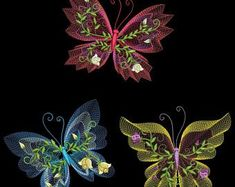 EXOTIC FLUTTERBYS FREE SHIPPING 6inch-10 Machine Embroidery Designs CD