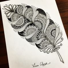 Mandala feather #Zendala #zentangle #Mandala#Lisa#Taipei #Taiwan#Zentangle#ZIA#doodle#painting#drawing#feather