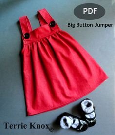 Pattern Sewing Children, Valentine Dress Girl, Girls pinafore, Kids Sewing Pattern,Big Button Jumper Size 1 to 6 Yrs.. $6.95, via Etsy.