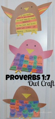 Owl Memory Craft Memorize Proverbs with this cute owl craft! // Memorize Proverbs with this cute owl craft! Bible School Crafts, Bible Crafts For Kids, Bible Study For Kids, Sunday School Crafts, Crafts For Kids To Make, Preschool Bible, Scripture Study, Memory Crafts, Owl Crafts