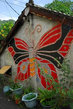 mosaic wall of a shed