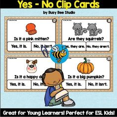Yes-No Questions Clip Cards for ESL Kids and Young Learners