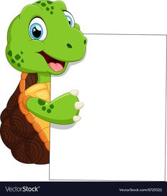 Cute turtle cartoon with blank sign vector image on VectorStock Cute Turtle Cartoon, Notebook Cover Design, Boarder Designs, Mickey Mouse Art, Blank Sign, Emoji Love, School Frame, Powerpoint Background Design, Kids Background