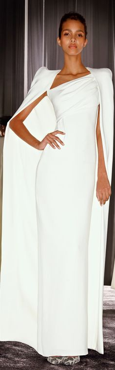 Tom Ford ~ White Fitted Dress w  Full Length Coat 2012.