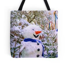 ' Tote Bag by BMaryna Framed Prints, Canvas Prints, Art Prints, Art Boards, Photo Art, Snowman, Duvet Covers, Merry Christmas, Finding Yourself
