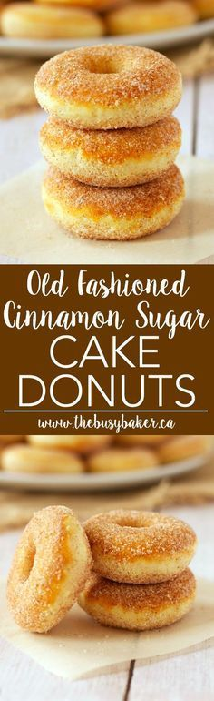 These Old Fashioned Cinnamon Sugar Baked Cake Donuts are easy to make, and they're lower in fat and sugar than most donuts, making them a healthier choice! Recipe from thebusybaker.ca! via @busybakerblog