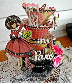 Chocolate Crafts and Bears, Oh My: Tea In Paris Tea Cup Tower with Julie Nutting Prima Stamp Prima Paper Dolls, Prima Doll Stamps, Doll Crafts, Paper Crafts, Audrey Doll, Paris Cards, Chocolate Crafts, Book And Frame, Cricut Craft Room