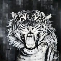 Acrylique/peinture/tigre/fauve/contemporain/peinture/réalisme/tableau/acrylique/illustration/graphisme/paint/Poppix' 80x80cm en noir et blanc Illustration, Animals, Tiger Painting, Acrylic Board, Black N White, Graphic Design, Animales, Animaux, Animal