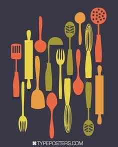 kitchen art work, kitchen decor, spoon, fork, knife, art for