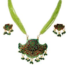 Necklace Sets MRP:Rs.394/- Free shipping & COD available  Order Here: http://www.artncraftemporio.com/necklace-sets-61.html This elegant green pair of handcrafted brass necklace set in multicolour meenakari design with pearl bead danglers. Perfect accessory to go along with any kind of ensemble on all occasions.