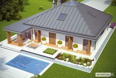 Projekt domu Lorena G2 - widok z góry Small Modern House Plans, Simple House Plans, Contemporary House Plans, House Plans Mansion, My House Plans, House Floor Plans, Modern Bungalow House, Bungalow House Plans, Dream Home Design