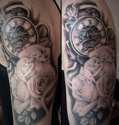 Black and grey floral and pocket watch tattoo, 6 hours! by Jess Parry Tattoos, UK (Please don't remove credit)