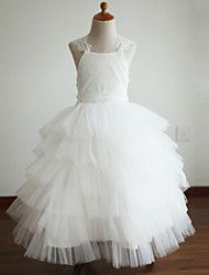 Ball+Gown+Ankle-length+Flower+Girl+Dress+-+Lace+/+Tulle+Sleeveless+Straps+with+–+USD+$+145.00