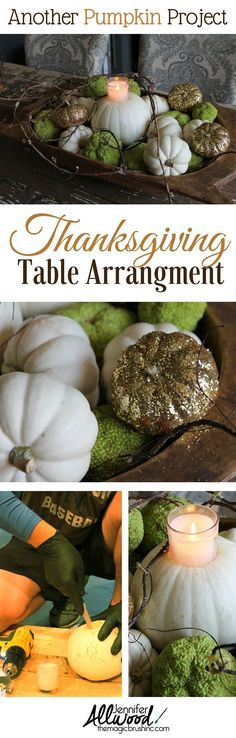 I can't get enough glittered pumpkins! Here's how to make this quick, easy arrangement for your Thanksgiving table - glitter pumpkins, hedge apples and twigs! More holiday DIY projects By Jennifer Allwood Cheap Thanksgiving Decorations, Rustic Thanksgiving, Thanksgiving Centerpieces, Thanksgiving Recipes, Seasonal Decor, Fall Recipes, Holiday Decor, Holiday Crafts, Holiday Ideas