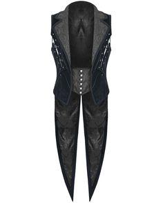 Punk Rave Mens Vest Waistcoat Tailcoat Blue Velvet Gothic Steampunk Regency VTG…
