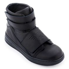 Leather high top trainers with velcro straps