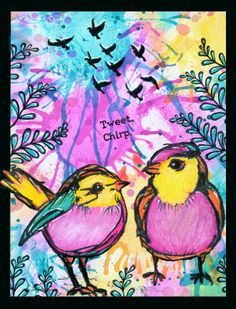 images of cards to make from dina wakley bird stamps | anjas-artefaktotum: Beautiful birds twittering in the morning More