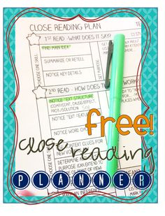FREE close reading planning page, works for any text