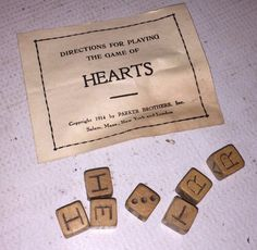 Antique dice letter game by Parker Brothers. It will come with the dice and the instructions to play. The game is from 1914. | eBay!