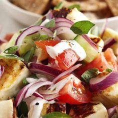 Halloumi salad with houmous dressing and pitta crisps