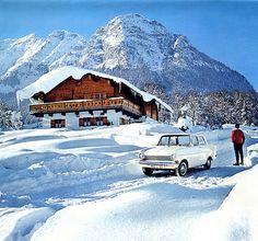 Bavarian Alps winter vacation 1964 calendar - Opel Kadett
