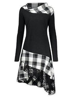 Casual Asymmetrical Asymmetrical Blend Plaid Long Sleeves Plaid A-line Dresses, veryvoga Cute Dresses, Casual Dresses, Fashion Dresses, Casual Outfits, Trendy Dresses, Umgestaltete Shirts, Girl Sleeves, Long Tops, Women's Tops